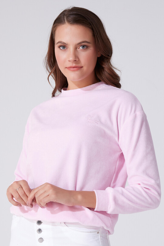BERFUĞ KIRAN - VELVET BICYCLE COLLAR LONG SLEEVE SWEATSHIRT