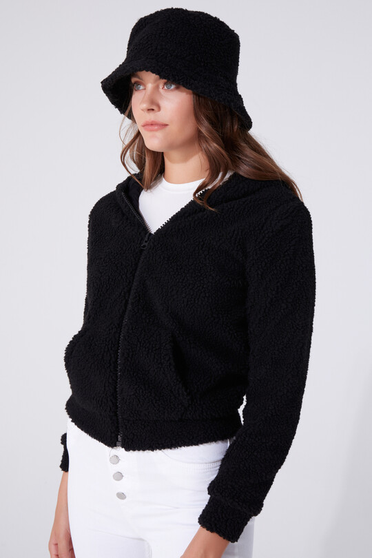 PLUSH CARDIGAN WITH ZIPPER FRONT