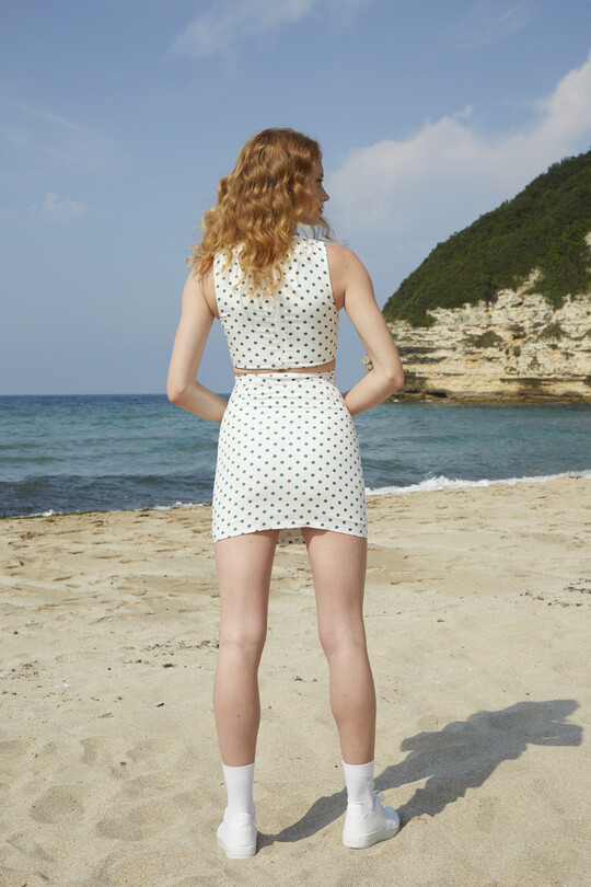 BERFUĞ KIRAN - Polka Dot Mini Skirt - GREEN (1)