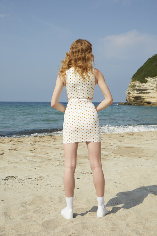 BERFUĞ KIRAN - Polka Dot Mini Skirt - ORANGE (1)