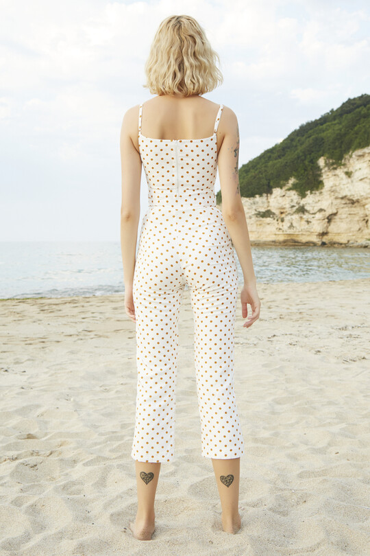 BERFUĞ KIRAN - Polka dot short trotting trousers-Orange (1)