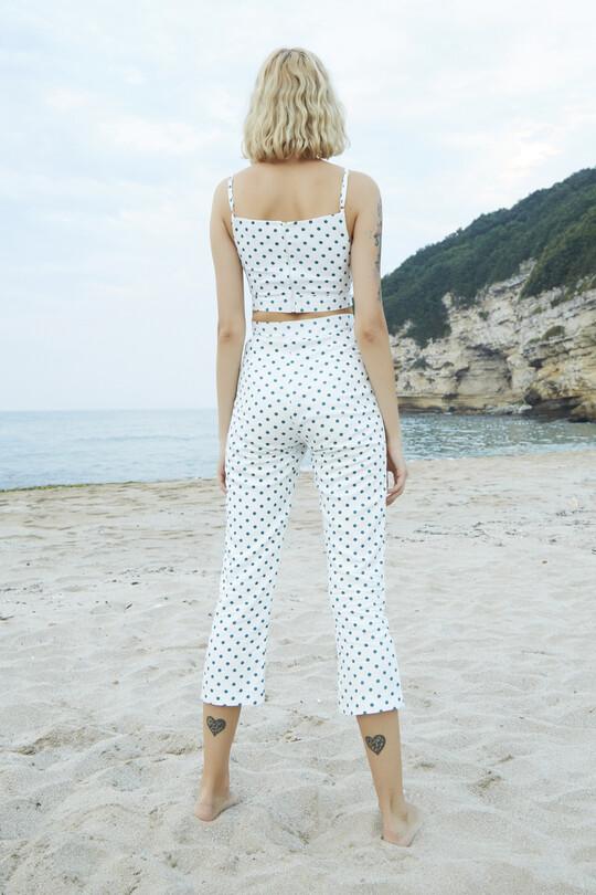 Berfuğ Kıran - Polka Dot Short Leg Trousers-GREEN (1)