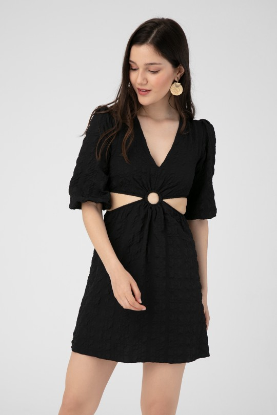 RING DETAILED DRESS WITH OPEN SIDES