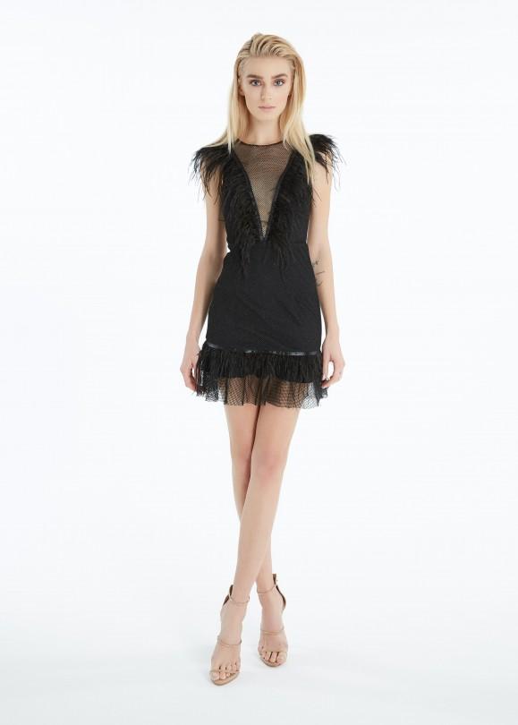 ruffled mesh mini dress with feathered hem