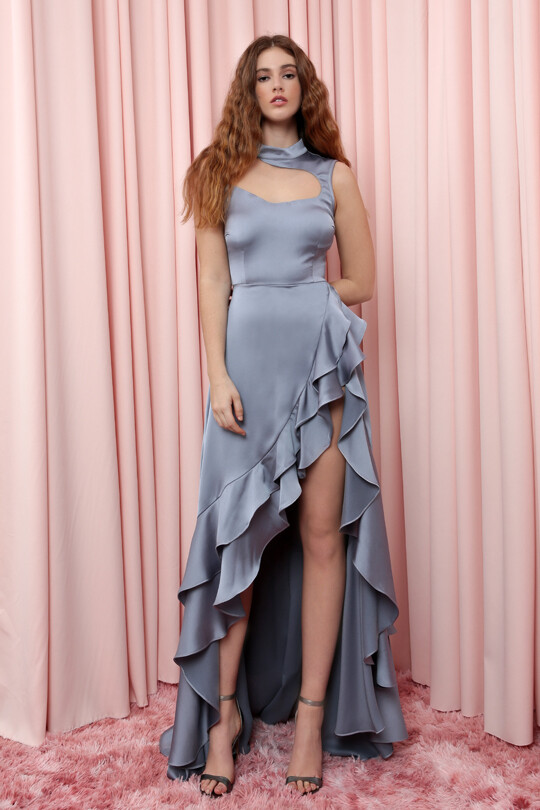 AKADİA - Ruffled Skirt Satin Dress With Slit Hem