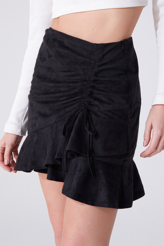 SHIRTED SUEDE SKIRT