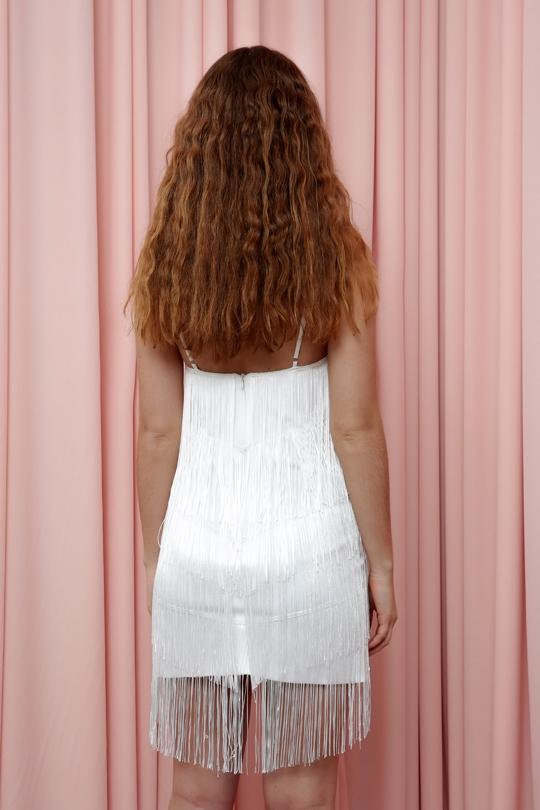SHORT DRESS WITH STRAP FRINGES