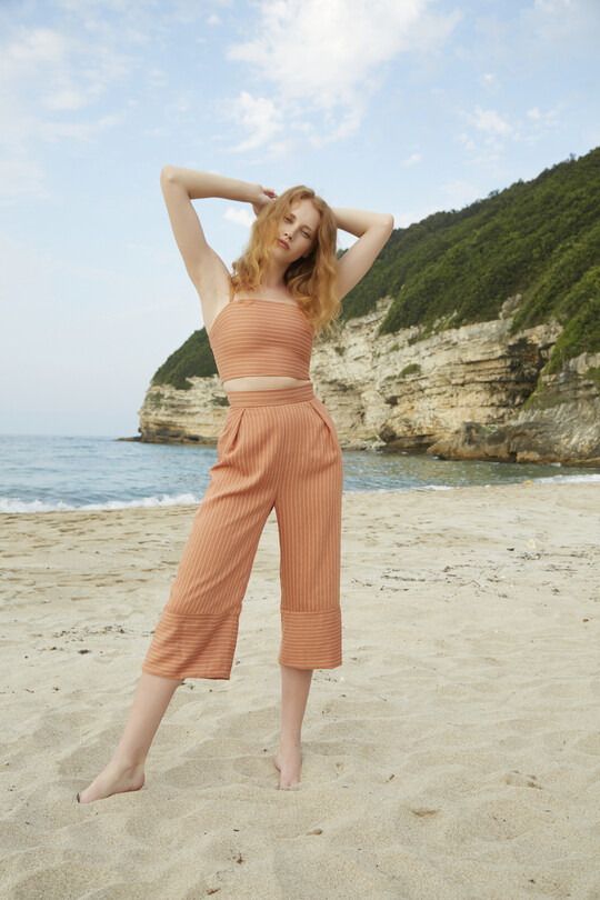 BERFUĞ KIRAN - Short Leg Wide Cut Trousers-TILE