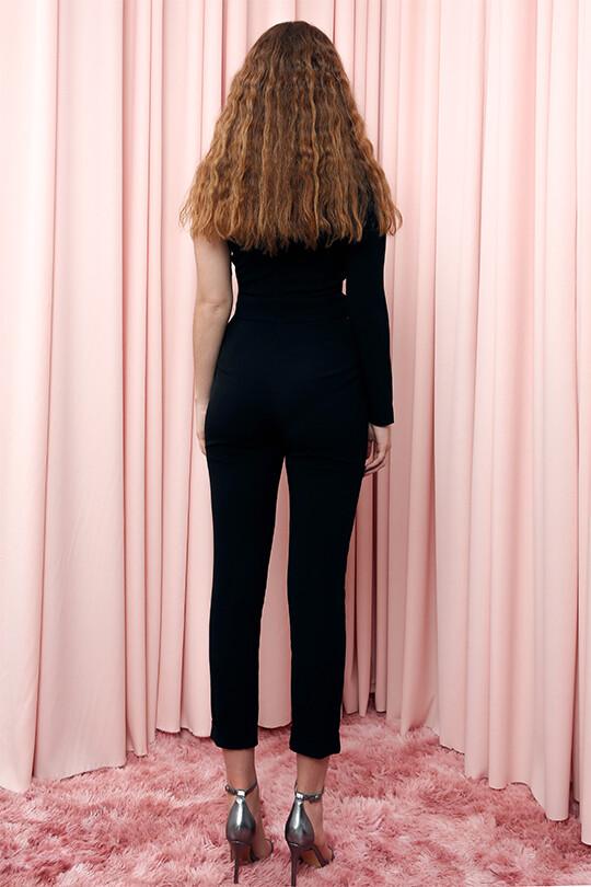Single Sleeve Single Breast Leather Trousers Jumpsuit