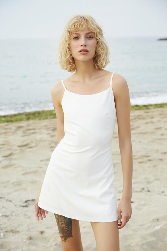 BERFUĞ KIRAN - Sırt Dekolteli İnce Askılı Elbise-BEYAZ