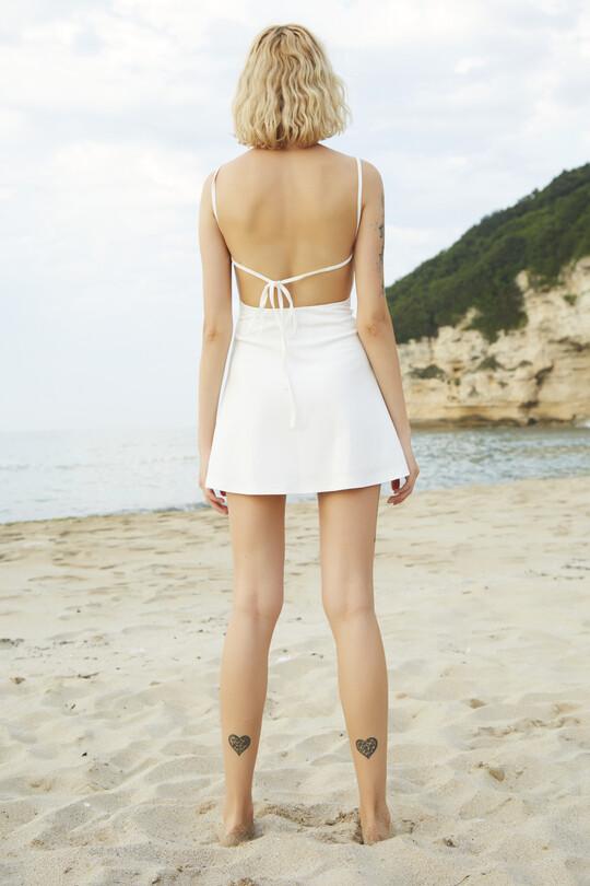 Sırt Dekolteli İnce Askılı Elbise-BEYAZ
