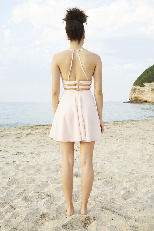 Sırt Dekolteli İnce Askılı Mini Elbise-PUDRA