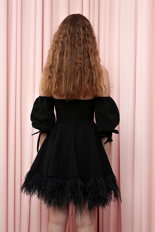 Skirt And Chest Part Feathered Short Dress