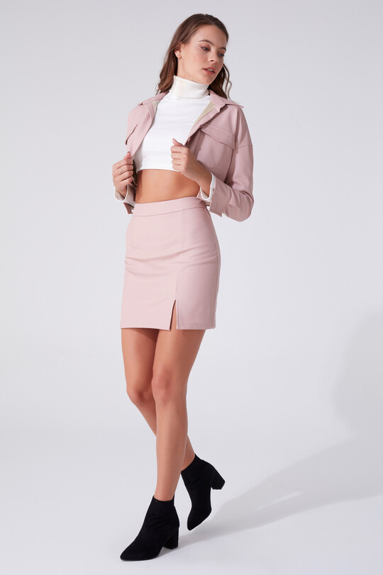 BERFUĞ KIRAN - SLEEVE LEATHER MINI SKIRT