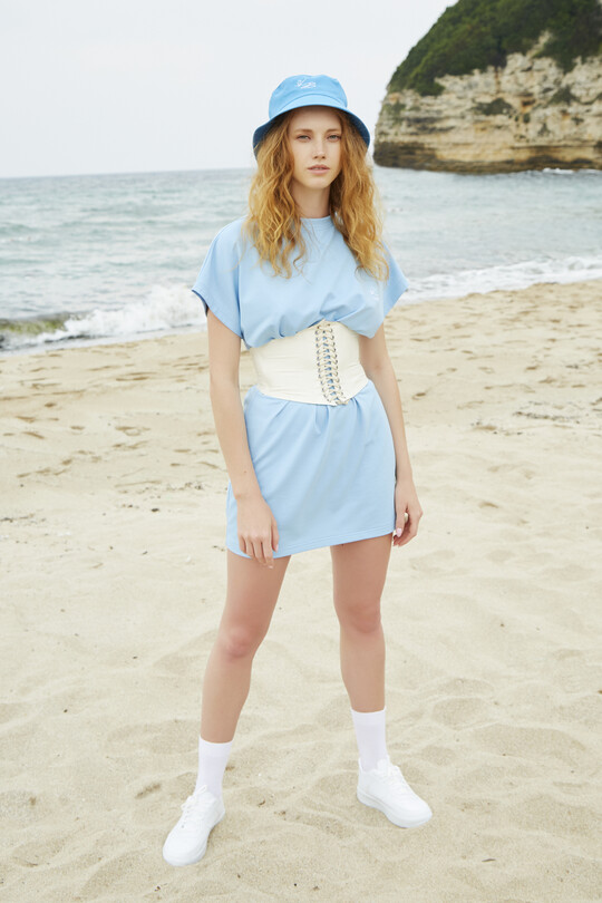 sport dress with short sleeves-BABY BLUE