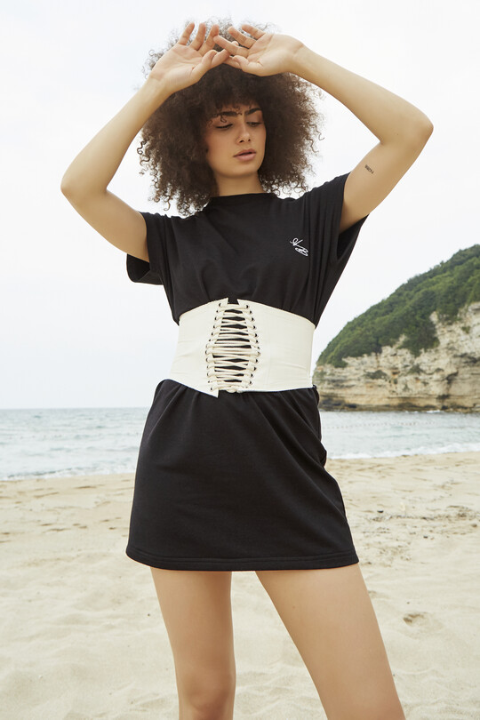 sport dress with short sleeves-BLACK
