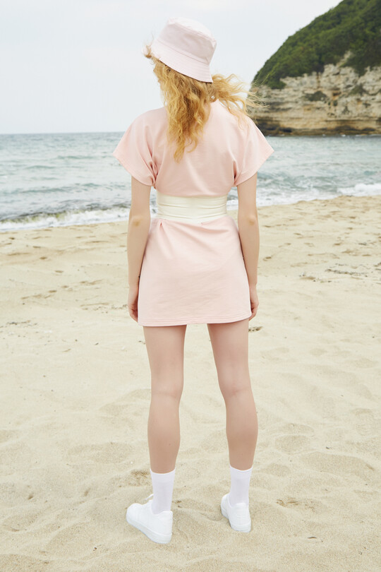 sport dress with short sleeves-POWDER