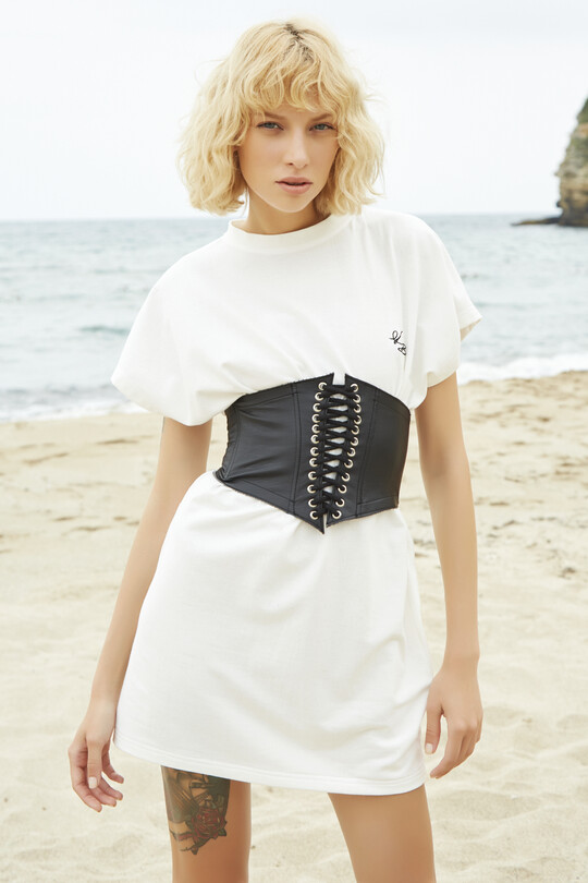sport dress with short sleeves-WHITE