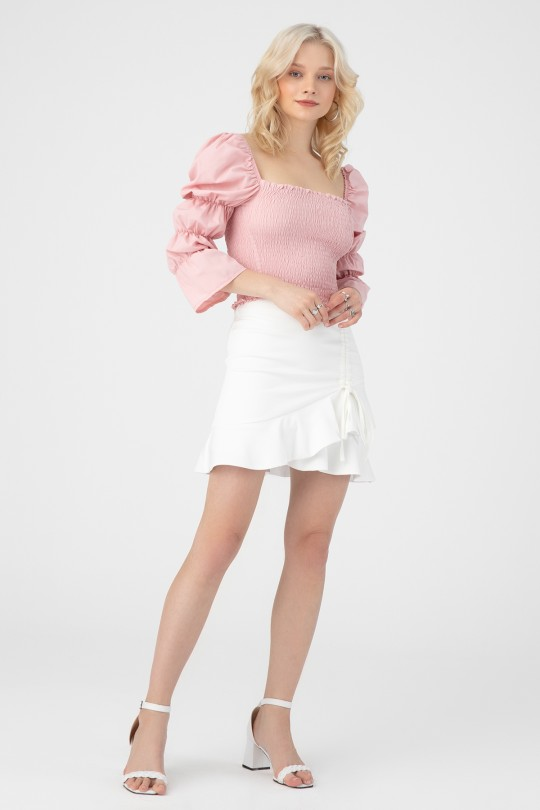 SQUARE COLLAR BLOUSE WITH ELASTIC