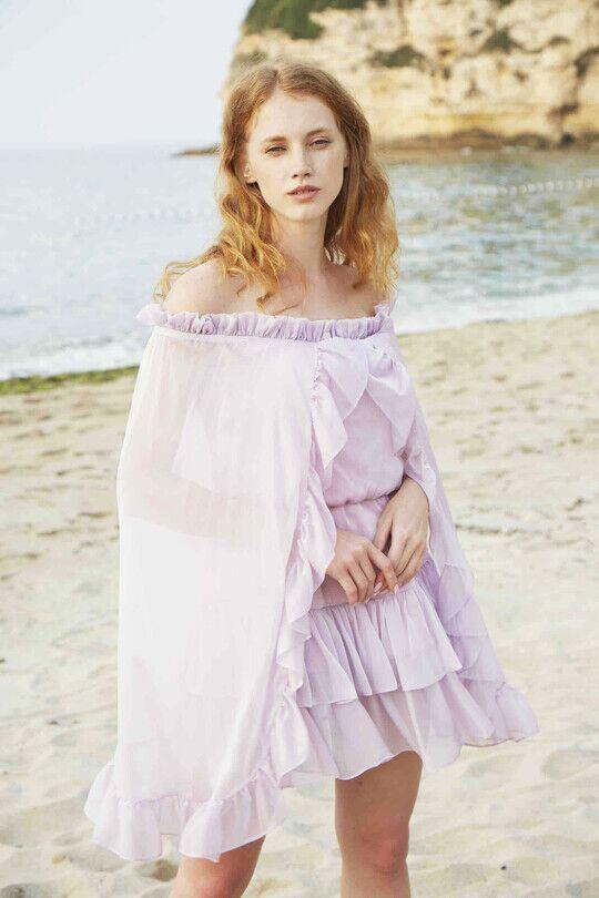 Strapless Bat Sleeve Frilly Mini Dress-LİLA