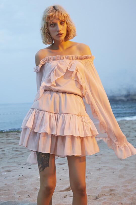 Strapless Bat Sleeve Frilly Mini Dress-PUDRA