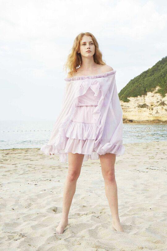 BERFUĞ KIRAN - Straplez Yarasa Kollu Fırfırlı Mini Elbise-LİLA