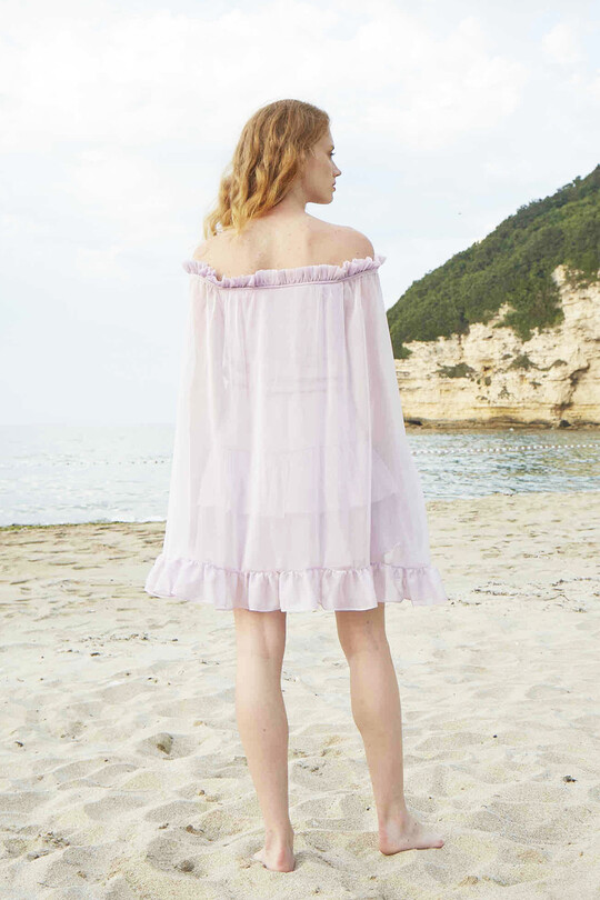 Straplez Yarasa Kollu Fırfırlı Mini Elbise-LİLA