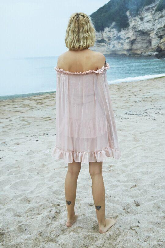 Straplez Yarasa Kollu Fırfırlı Mini Elbise-PUDRA