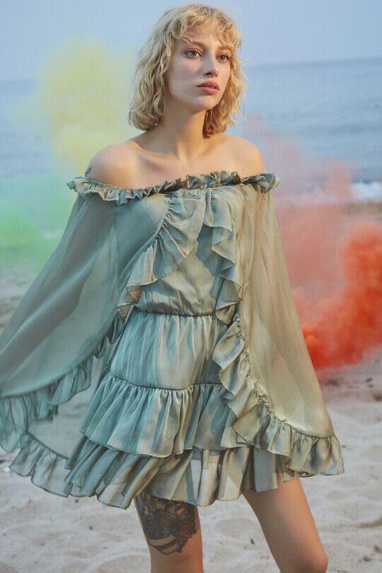 Straplez Yarasa Kollu Fırfırlı Mini Elbise-YEŞİL