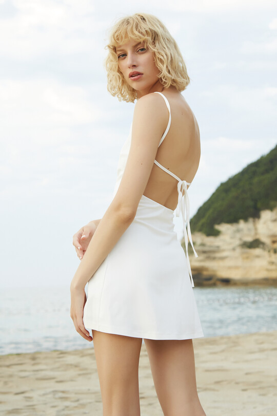 BERFUĞ KIRAN - Strappy dress with low back-WHITE (1)