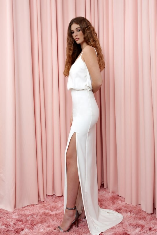 Strappy Waist Pleated Long Dress