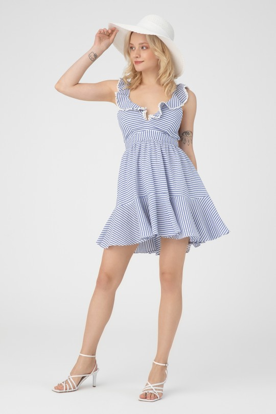 STRIPED DRESS WITH FRONT FLORAL LINING