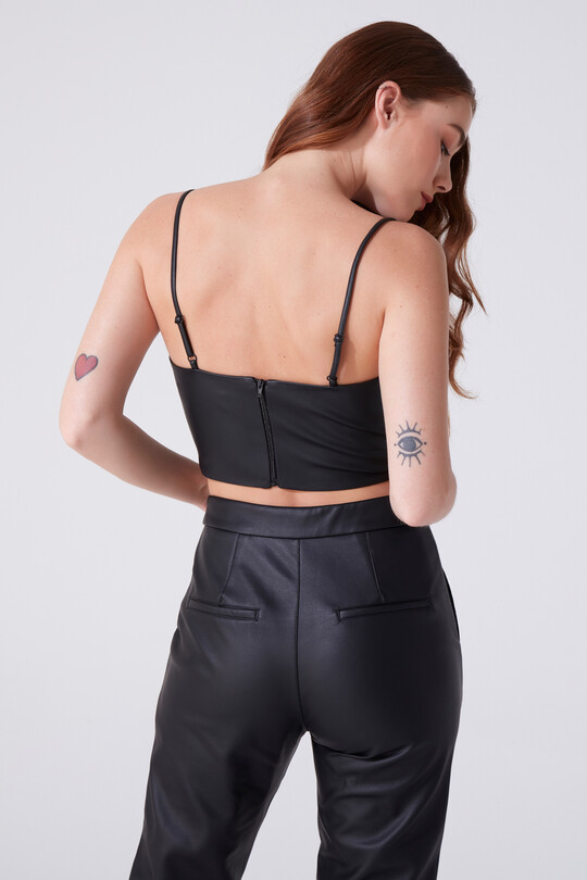 THIN STRAP LEATHER BUSTIER