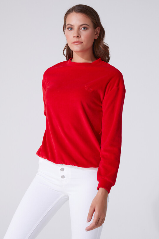 BERFUĞ KIRAN - VELVET BICYCLE COLLAR LONG SLEEVE SWEATSHIRT (1)