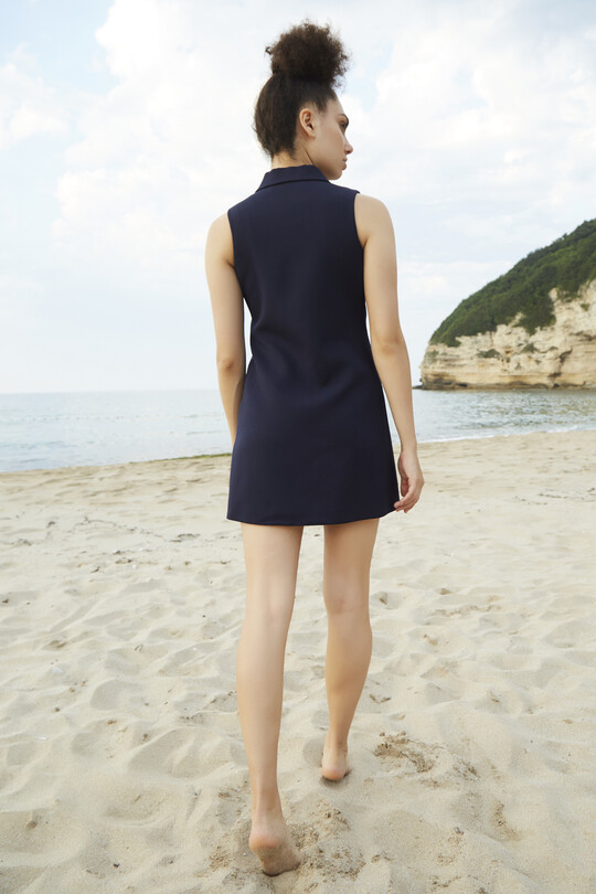 Yakası Saten Mini Ceket Elbise-LACİVERT